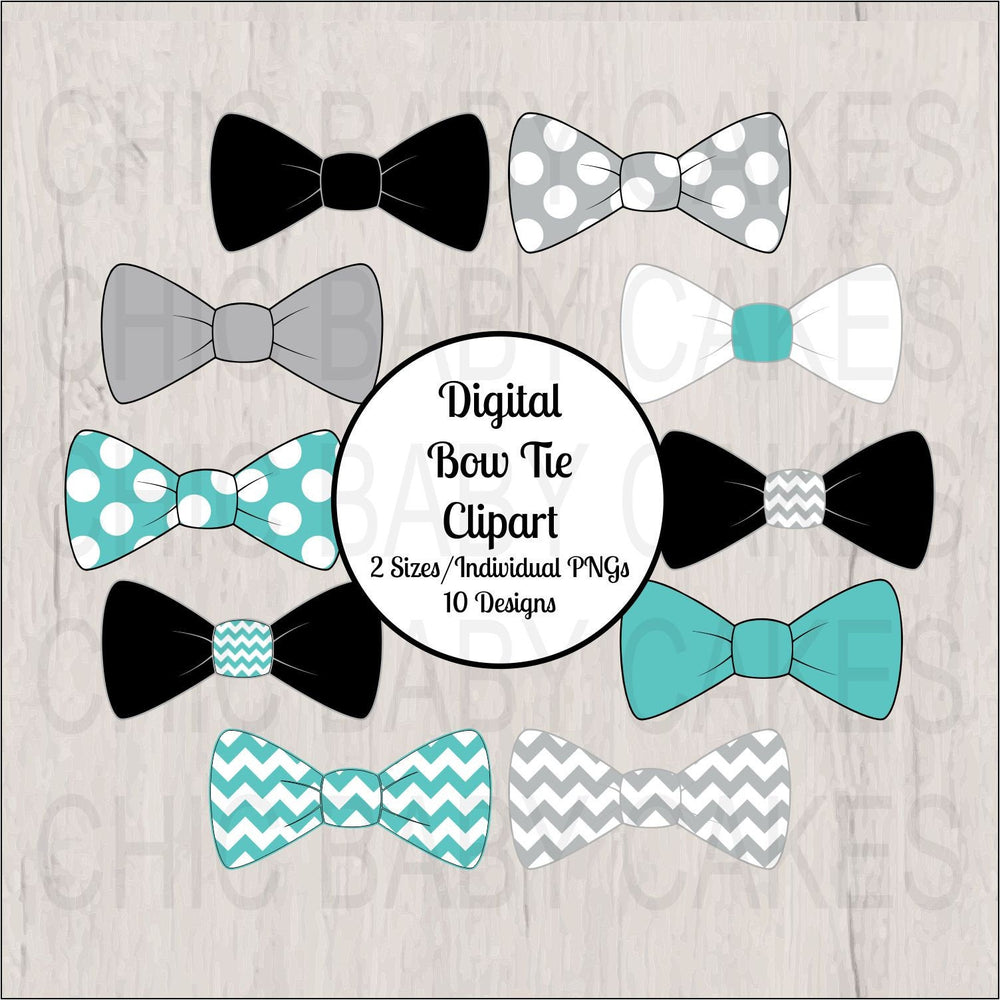 Teal, Gray, & Black, Little Man Bow Tie Clipart