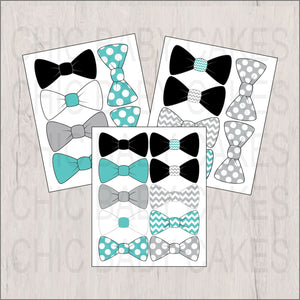 Bow Tie Clipart, Light Teal, Gray, Black, White