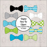 Turquoise & Lime Little Man Bow Tie Clipart