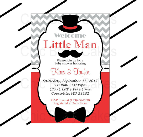 Red & Gray Little Man Baby Shower Invite
