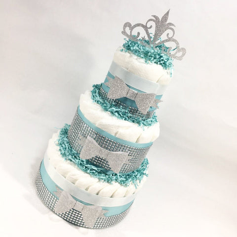 Robin's Egg Blue and Silver 3-Tier Princess Diaper Cake Centerpiece