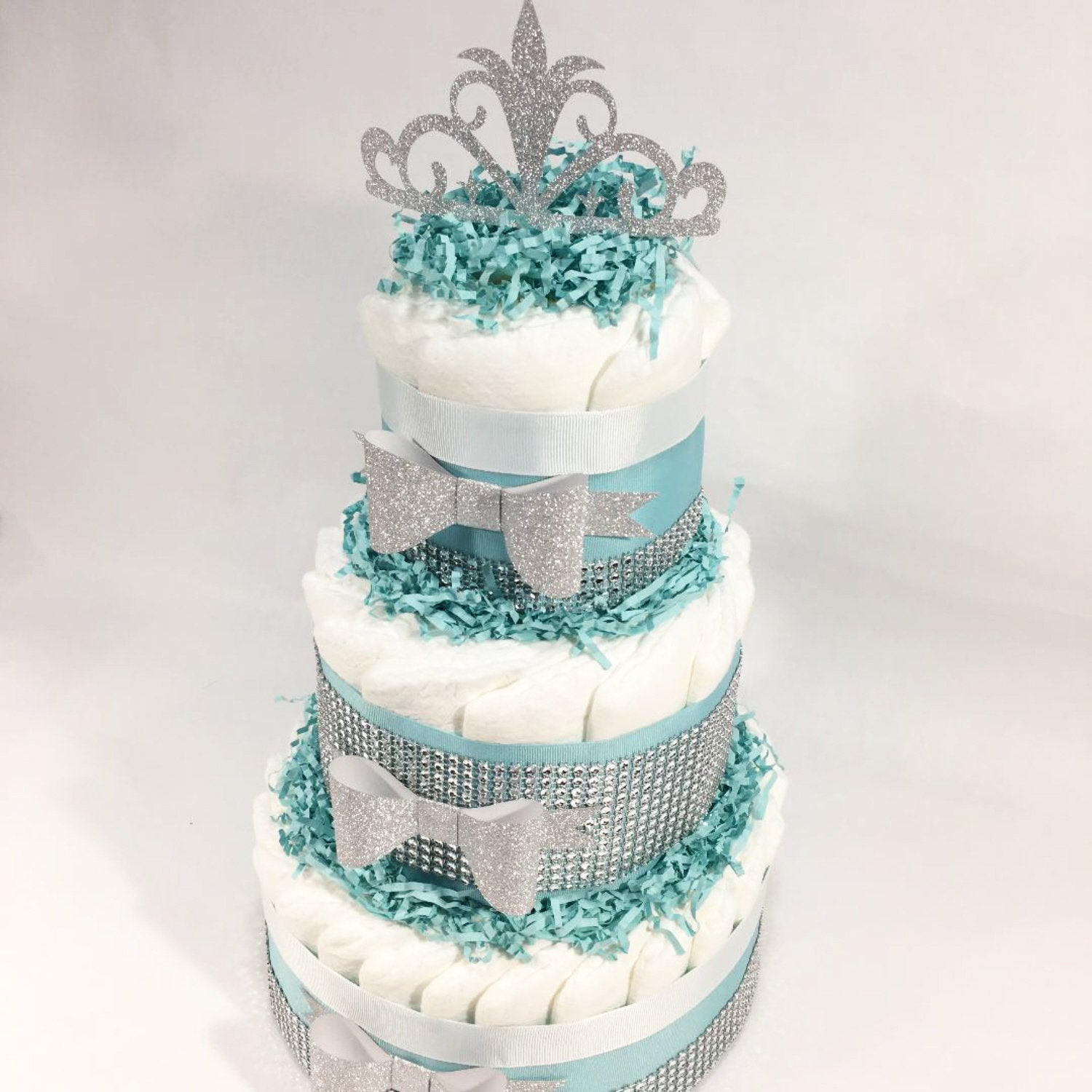 Baby /& Co Shower Diaper Cake Centerpiece Robin Egg Blue Bling w White Bows Pearl Box as Cake Topper 3 Tier 60 Diapers Included