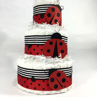 3-tier Red and Black Ladybug Diaper Cake Centerpiece for a Girl Baby Shower or Party