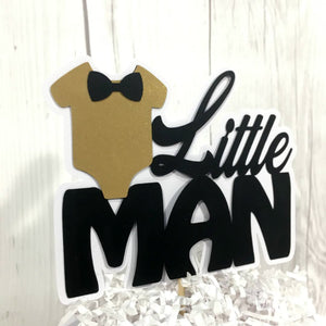 Black and Gold Little Man Party Cake Topper