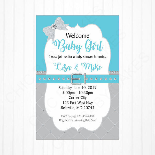Blue & Silver Girl Baby Shower Invite