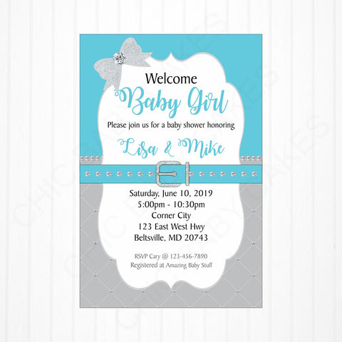 Turquoise, Gray, and Silver Girl Baby Shower Invitation