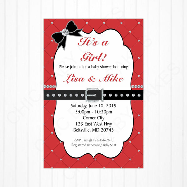 Red and Black Girl Baby Shower Invite