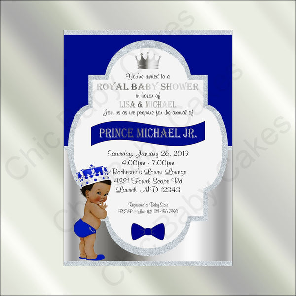 Royal Blue & Silver Prince Baby Shower Invite