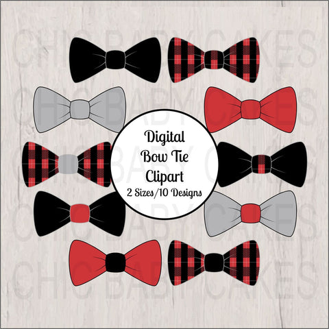 Bow Tie Clipart, Red, Black, Gray, Plaid