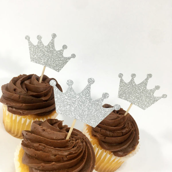 Glitter Silver Crown Cupcake Toppers
