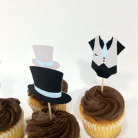 Set of 12 Light Blue, Gray, Black Little Man Cupcake Toppers