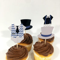 Set of 12 Little Man Cupcake Toppers, Baby Shower or Birthday Cupcake Toppers, Navy, Gray, and Black