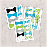 Digital, Printable Little Man Bow Tie Clipart, Turquoise, Lime, Black, Gray