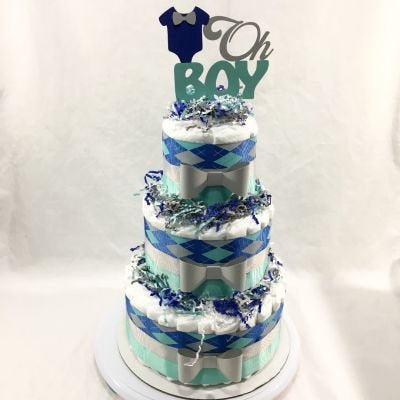 3-Tier Oh Boy Diaper Cake Centerpiece, Royal Blue, Aqua