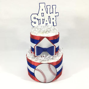 All Star Baseball Diaper Cake For Boy Baby Shower