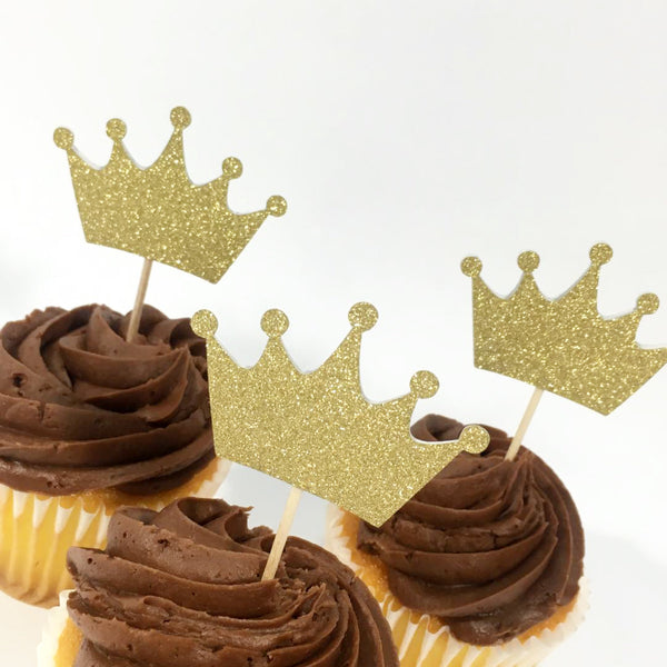 Glitter Gold Crown Cupcake Toppers