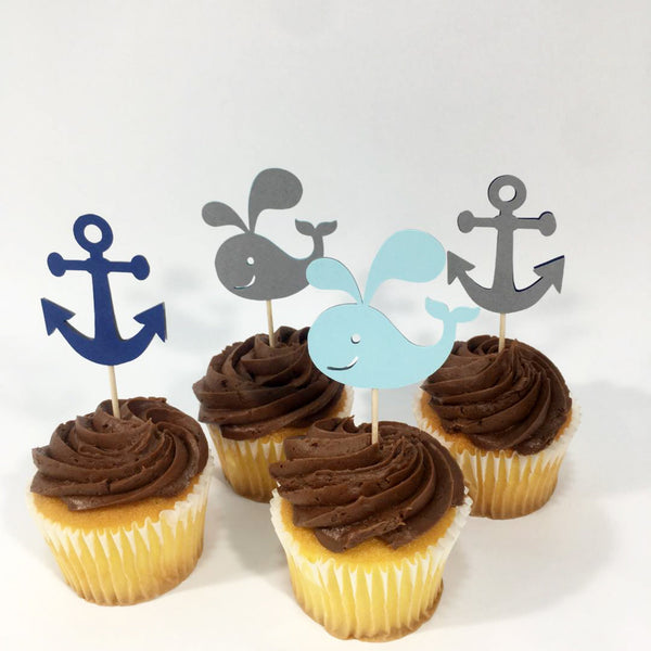 Nautical Whale Cupcake Toppers