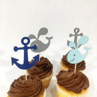 Set of 12 Blue and Gray Nautical Cupcake Toppers
