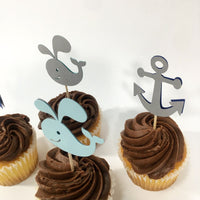 Set of 12 Nautical Whale and Anchor Cupcake Toppers