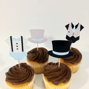 Light Blue, Gray, & Black Little Man Cupcake Toppers