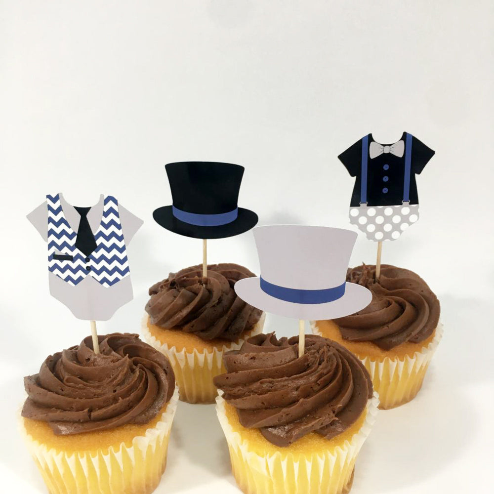 Navy, Gray, & Black Little Man Cupcake Toppers