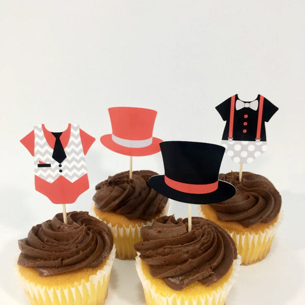 Red, Black, & Gray Little Man Cupcake Toppers