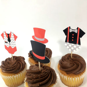 Set of 12 Red, Black, Gray Little Man Cupcake Toppers