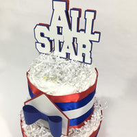 Baby All Star 2-tier Diaper Cake Centerpiece for Boy Baby Shower Decoration