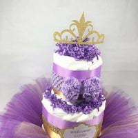 Lavender, Purple, and Gold Welcome Little Princess Tutu Diaper Cake Centerpiece for Girl Baby Shower