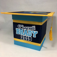 Navy, Light Blue, & Yellow Graduation Card Box