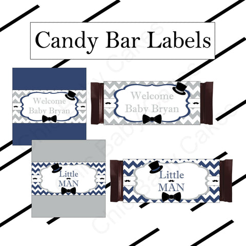 Navy and Gray Little Man Candy Bar Favor Wrappers