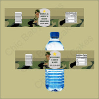Army Camouflage Baby Shower Water Bottle Labels