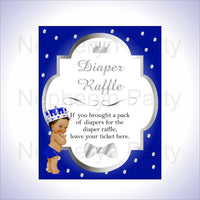 Royal Blue & Silver Prince Diaper Raffle Sign, Brown