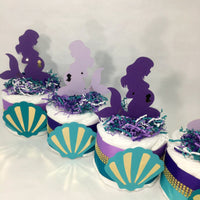 Pregnant Mermaid Mini Diaper Cake Centerpiece Set for Girl Baby Shower, Purple, Teal, Gold