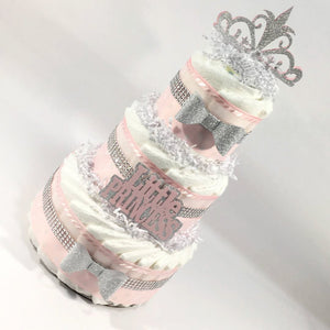 Pink and Silver Little Princess Diaper Cake