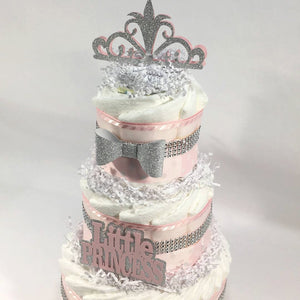 Pink & Silver Princess Baby Shower Diaper Cake