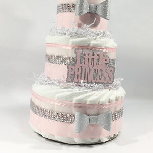 Pink, Silver, & White Prince Diaper Cake Centerpiece