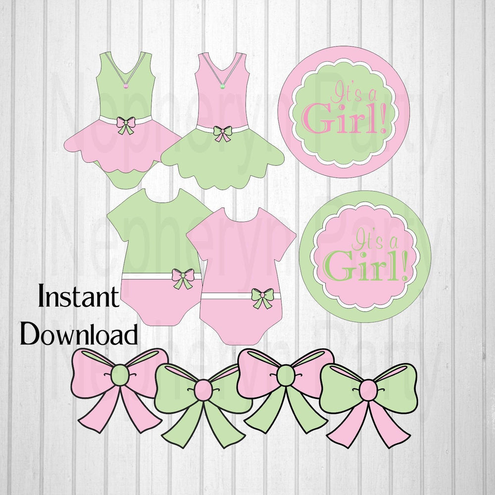 Pink & Green It's a Girl Diaper Cake Clipart