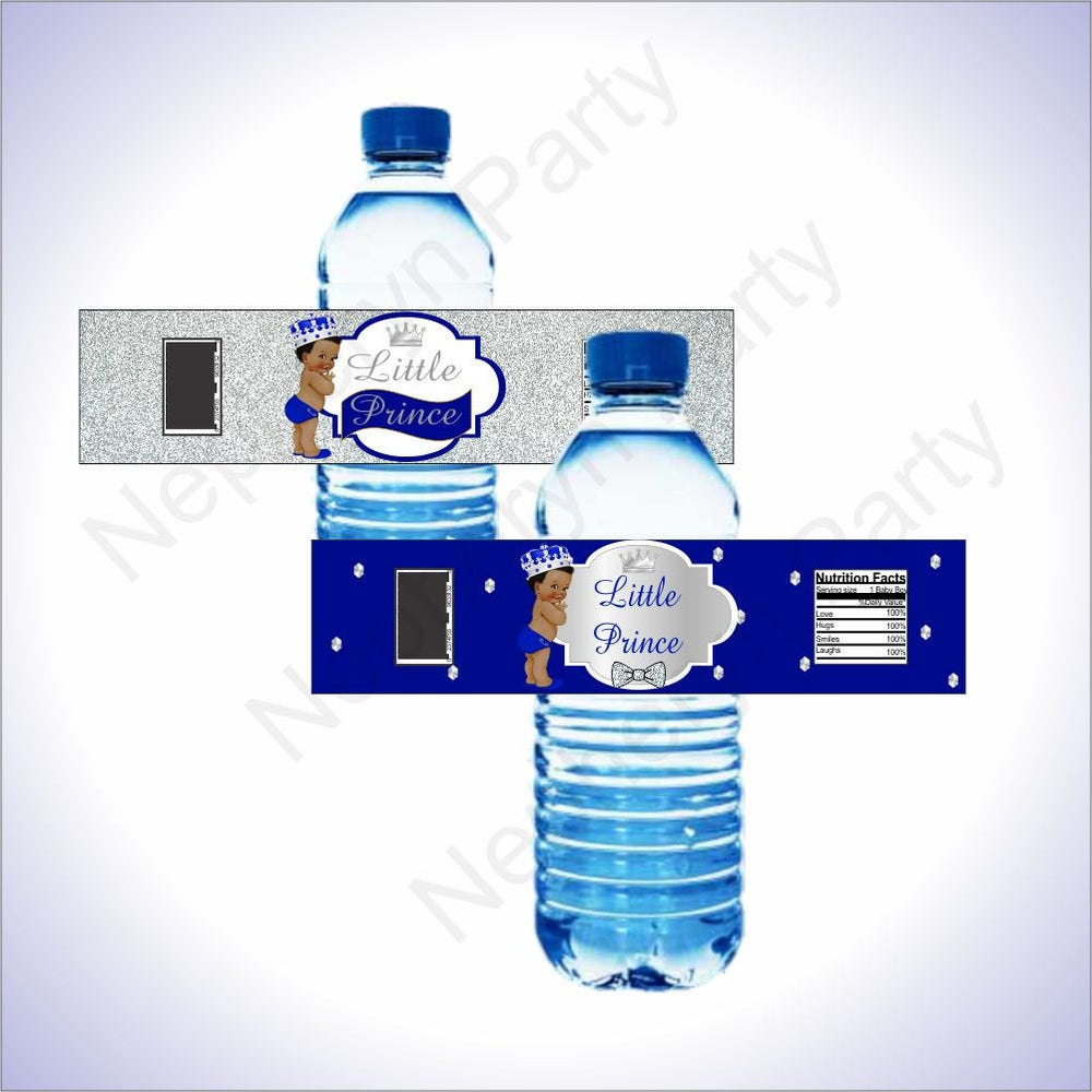 Royal Blue and Silver Little Prince Water Bottle Labels, Black Hair