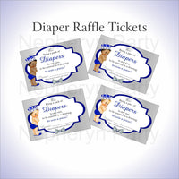 Royal Blue & Silver Prince Diaper Raffle Tickets