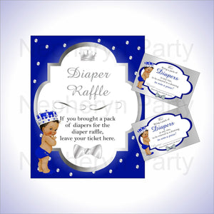 Royal Blue & Silver Prince Diaper Raffle Set, Brown