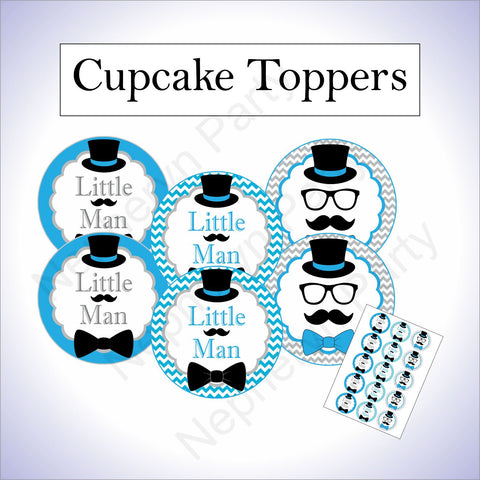 Turquoise, Gray, and Black Little Man Cupcake Toppers