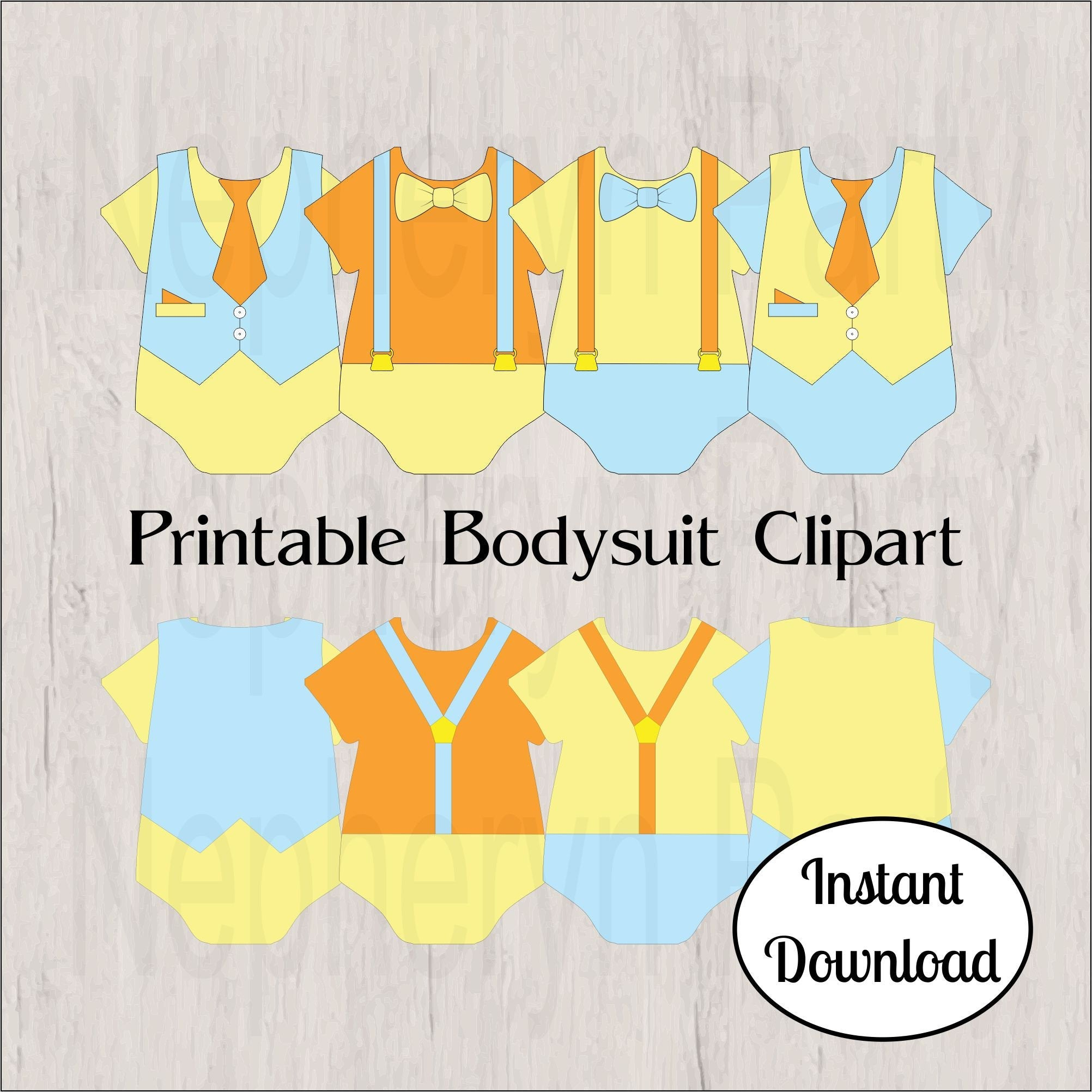 Light Blue, Yellow, and Orange Boy Bodysuit Clipart