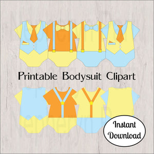 Orange, Light Blue, & Yellow Bodysuit Clipart
