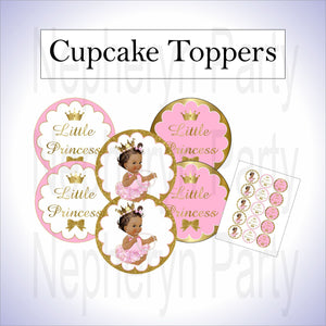 Pink & Gold Princess Cupcake Toppers, Brown