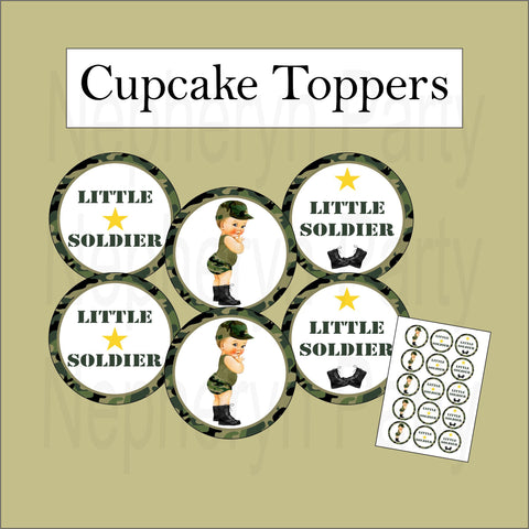Little Soldier Camouflage Cupcake Toppers