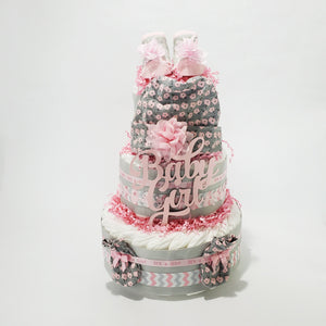 Pink & Gray Baby Shower Diaper Cake Gift