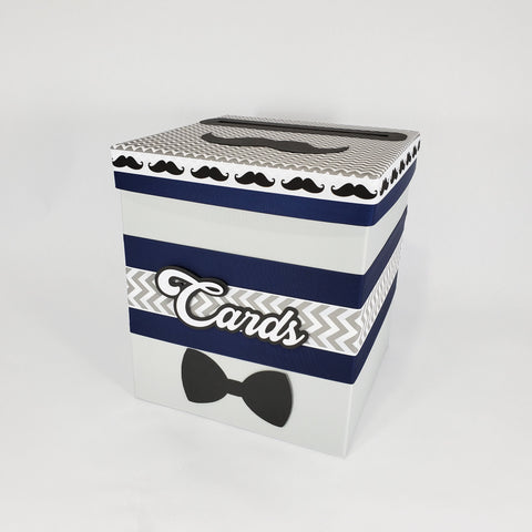 Navy, Gray, and Black Little Man Baby Shower Card Box