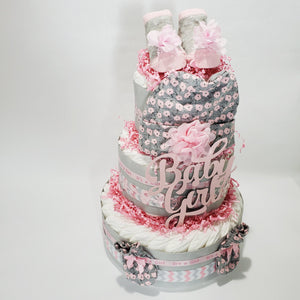 Pink & Gray Diaper Cake Gift for Girl