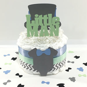 Mint, Blue, & Gray Little Man Diaper Cake